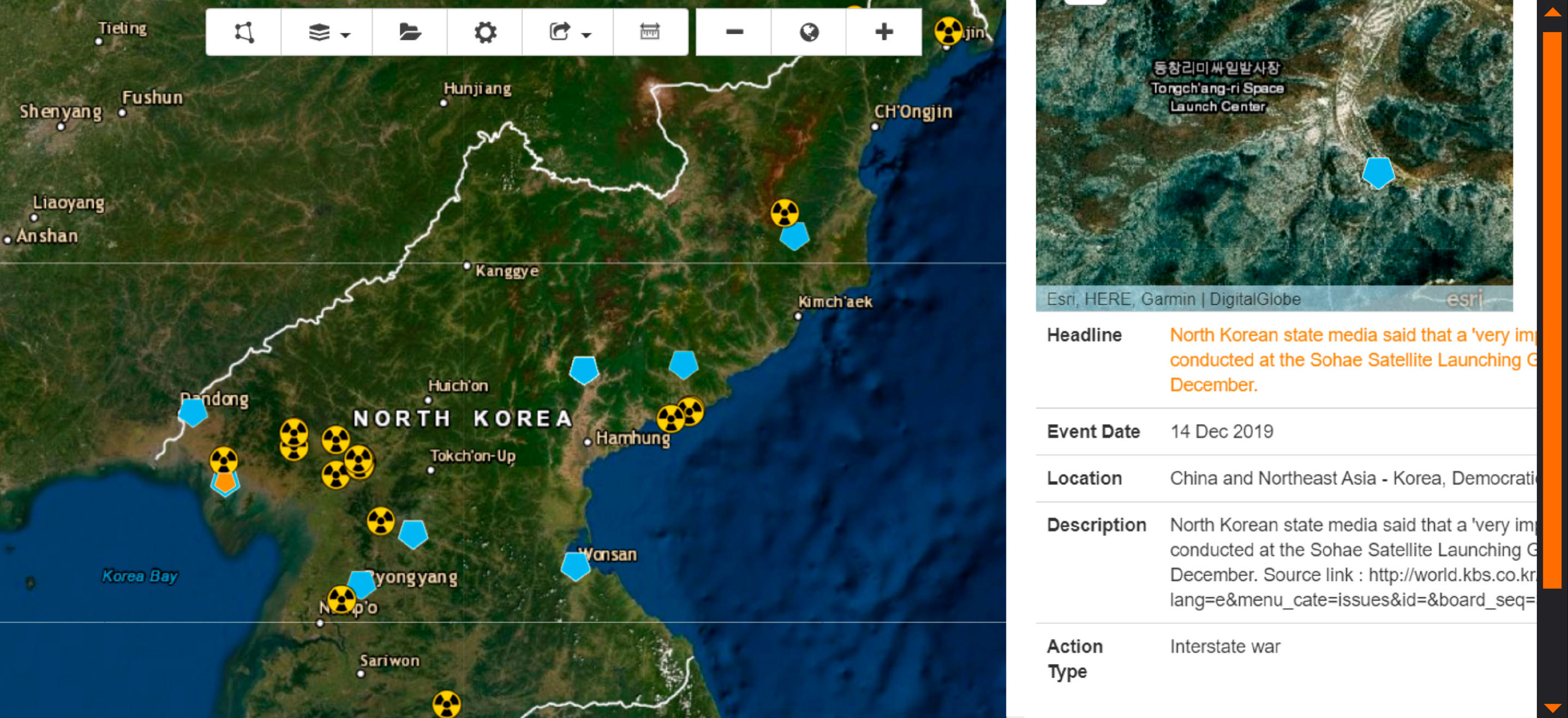 image of military geospatial events database