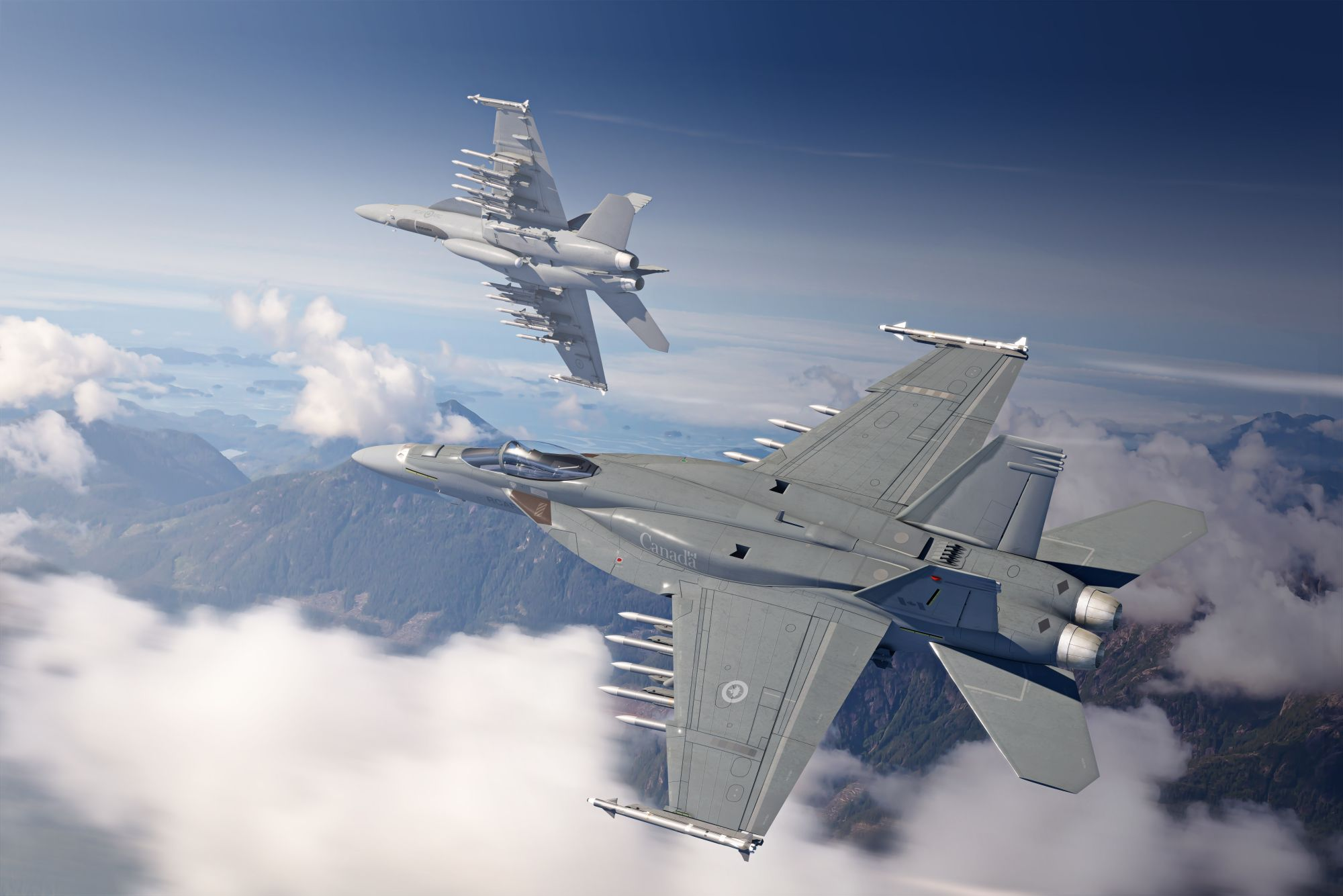 Artist's illustration of Boeing's Block III Super Hornets with Canadian logos. Two experts that spoke with          Janes          said Boeing's proposal to perform Block III Super Hornet final assembly in the US and not Canada if it won Canada's fighter competition was a reasonable business decision.        (Boeing)