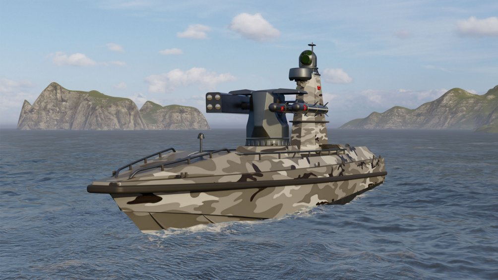 The ULAQ unmanned surface vehicle will be able to carry a range of precision weapons, including the Cirit and L-UMTAS guided missiles.  (Ares Shipyard)